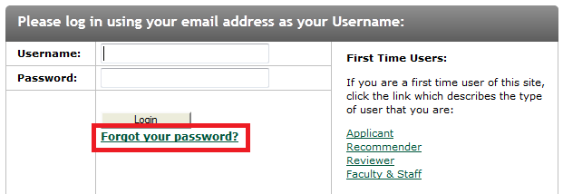 Forgot your password screen